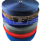 20mm 25mm & 38mm, 50 METRES POLYPROPYLENE WEBBING BROWN BLUE GREY RED NAVY