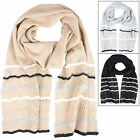 Ladies Hallie Scarf With Stripes Smooth Knit Lacy Crochet Edge Winter Accessory