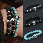 Skull Charms Natural Black Lava Stone Tibet Silver Buddha Men's Beaded Bracelet