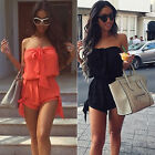 WOMEN OFF SHOULDER SUMMER BEACH PLAY SUIT CASUAL SHORTS JUMPSUIT LOWEST PRICE