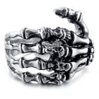 MENDINO Men's Stainless Steel Ring Skull Skeleton Hand Finger Bone Gothic Silver