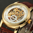 Men's Analog Skeleton 12Hours Leather Self-winding Mechanical Dress Wrist Watch