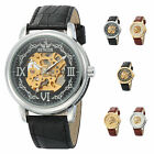 Mens Fashion Skeleton Watch Automatic Mechanical Synthetic Leather Band Watches