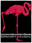 1057.German Zoological Art Flamingo POSTER.Graphics to decorate home office.