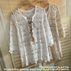 Women Embroidery Crochet Loose Pullover Top Casual T Shirt Blouse Sexy Beachwear