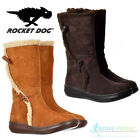 Rocket Dog Slope Ladies Suede Faux Fur Womens Zip Calf Boots Brown Size 4 7