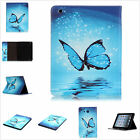 Light Blue Butterfly PU Leather Stand Cards Slot Cover Case For Various Tablets