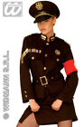 LADIES 1940s GERMAN SOLDIER BLACK UNIFORM FANCY DRESS COSTUME OUTFIT & HAT NEW