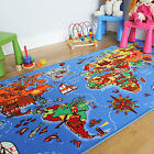 Kids Play Mat Educational Fun World Map Country Rugs Non-Slip Small Large 3 Size
