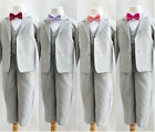 Boy Silver/light grey blue green bow tie formal suit wedding party all sizes