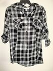 Ladies Plaid Shirt Black 2 Pockets Button Front Cotton Sizes S-X L