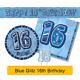 AGE 16 - Happy 16th Birthday BLUE GLITZ - Party Balloons, Banners & Decorations