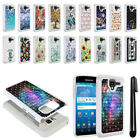 For Kyocera Hydro View C6742/ C6743 Studded Bling HYBRID Case Phone Cover + Pen