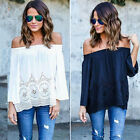 Sexy Women Off Shoulder Lace Strapless T-Shirt Summer Casual Loose Top Blouse AS