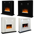 FREE STAND ELECTRIC FIREPLACE BLACK WHITE MDF SURROUND LED LIGHT FLICKER FLAME