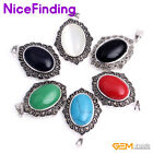 Fashion Women Jewelry Pendant Oval Beads Marcasite Silver Plated + Free Chain