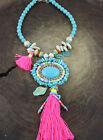 Fashion Ethnic Jewelry Red Tassel Big Turquoise Beads Pendants Long necklaces