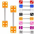 2P UV Dice tongue piercing bar barbell ring steel jewelry 9EBW-SELECT COLOR&SIZE