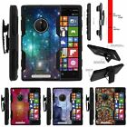 For Nokia Lumia 830 Rugged Matte Holster Clip Stand Case Galaxy with Specs