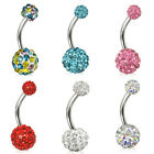 1x Navel Belly Button Ring Barbell Rhinestone Crystal Ball Body Piercing Jewelry