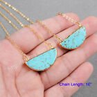 "1Pcs 16"" Half Moon Blue Turquoise Necklace With Gold Plated DIY Jewelry HG0382-N"
