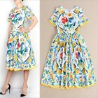 Factory Wholesale 2016 Summer New Runway Blue and white Printing Hot Sale Dress