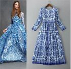 2016 New High-End Fashion Brand Occident Blue and white Printing Hot  Long Dress