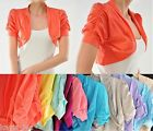 Ruched Short Sleeve Cropped Bolero/Shrug Top S/M/L *7 Colors Available*