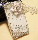 NEW 3D Camellia Crystal Finished Hard Case cover skin for Apple Iphone 4 4S OF32