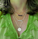 Multi 4 Layer Necklace Dew Drop Disc Bar Name Initial Charm Handmade Stamped