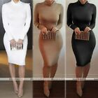 Rare Womens Long Sleeve Bandage Bodycon Pencil Evening Cocktail Party Mid Dress
