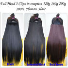 One piece Real Human Hair Extension Clips in Full Head Weight 120g-200g 18-30""