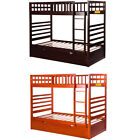 Twin Over Twin Bunk Beds with Trundle Bed Pine Wood Kid Stairs Bedroom Furniture