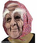 Wrinkly Old Woman with Headscarf Mask 80s 90s Halloween Fancy Dress Costume