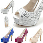Fashion Women Pumps Peep Toe High Heels Rhinestone Satin Wedding Shoes Bridal