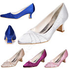 Latest Mid Heel Woman Pumps Elegant Pointy Closed Toe Satin Wedding Shoes bride
