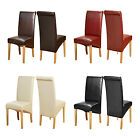 PAIR Faux Leather Dining Chairs Roll Top Scroll Back Oak Wooden Legs Furniture