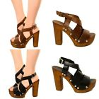 Damen Sandalen Gladiator Schuhe Echtleder High Heels Pumps Shoes Clogs Mules 284