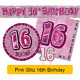 AGE 16 - Happy 16th Birthday PINK GLITZ - Party Balloons, Banners & Decorations
