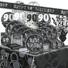 90/90th BIRTHDAY BLACK/SILVER GLITZ Party Range (Birthday/Plates/Napkins/Banner)