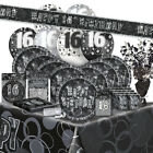 16/16TH Birthday BLACK/SILVER GLITZ Party Range (BIRTHDAY/Plates/Napkins/Banner)