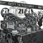 21/21ST Birthday BLACK/SILVER GLITZ Party Range (BIRTHDAY/Plates/Napkins/Banner)