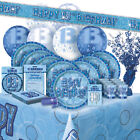 13/13TH Birthday BLUE GLITZ Party Range (BIRTHDAY/Plates/Napkins/Banner)