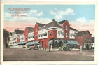 GUILFORD, ME  - Braeburn Hotel, Post Office, Corner view from street, Cars