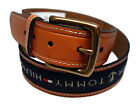NEW TOMMY HILFIGER MEN'S PREMIUM LEATHER BELT RIBBON INLAY NAVY BLUE 11TL02X032