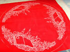 Holiday Chriatmas tree skirt  to complete sewing crafting red stamped 42""