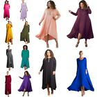 PLUS Black Royal Magenta Blue 3/4 Sleeve Drape Slouch Pocket Women Long Dress