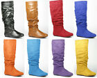 Faux Leather Suede Slouchy Tall Knee High Women Fashion Boots Bamboo Rebeca-02R