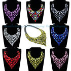 US Ship Statement Necklace Fashion Party Jewelry Crystal Acrylic Cluster Bib