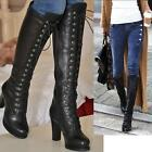 Celeb Womens Lace Up Fur Chunky High Heels Knee High Riding Botts Brogues Shoes